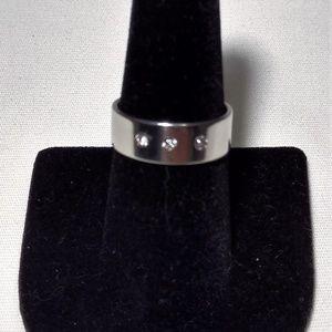 Silver Unisex Triple Stone CZ Fashion Wedding Ring